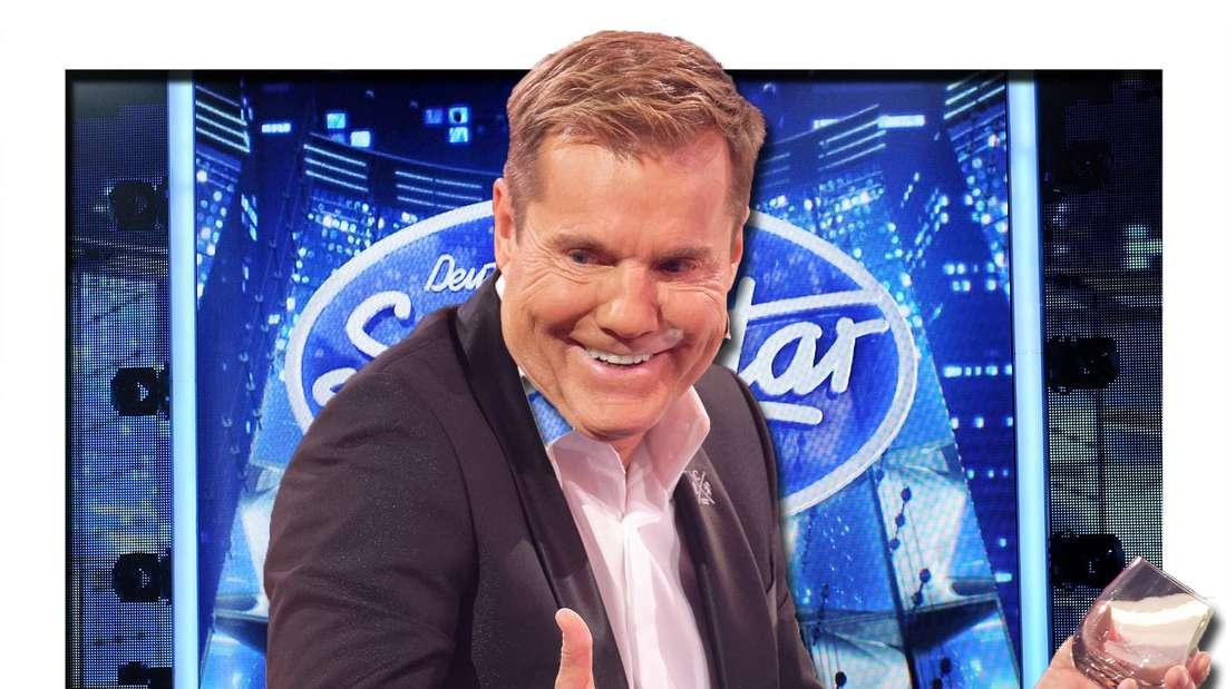 Dieter Bohlen lacht, im Hintergrund das DSDS-Logo (Fotomontage)