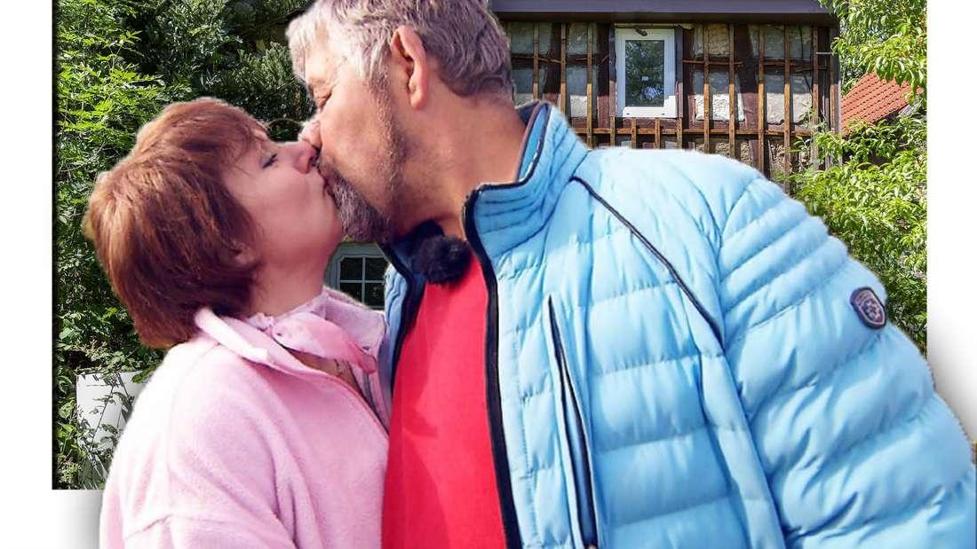 """Das Bild zeigt """"Bauer sucht Frau""""-Kandidatin Iris Abel beim Küssen ihres Partners Uwe (Fotomontage)"""