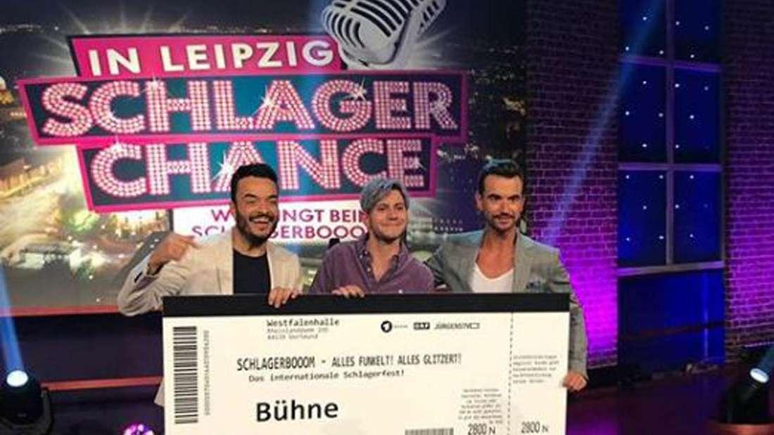 """Julian Reim mit Florian Silbereisen und Giovanni Zarrella bei """"Schlagerchance"""""""