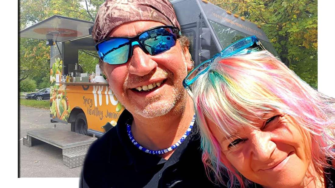 Fotomontage: Thommy und Kathrin Mermi-Schmelz vor ihrem Foodtruck