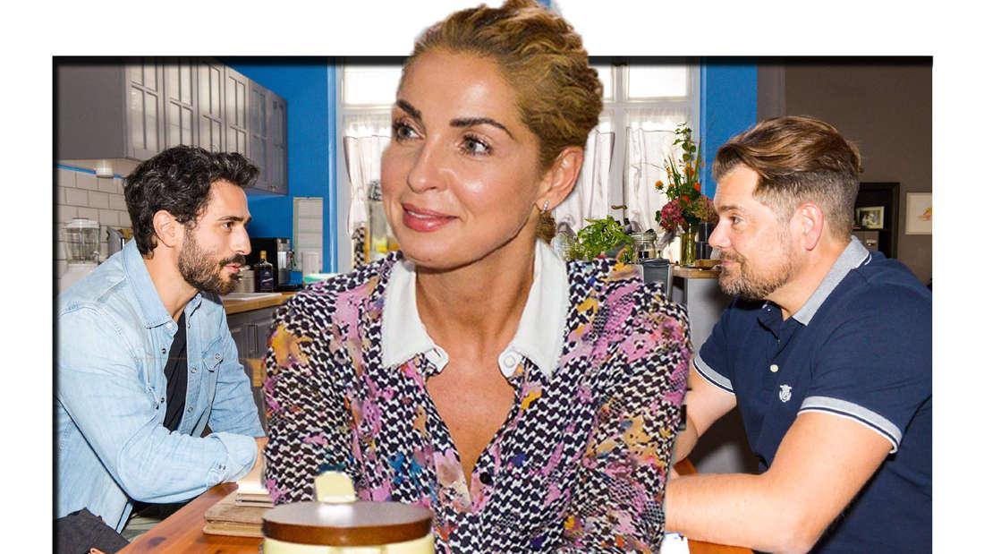 Nina sitzt mit Leon und Tobias an einem Tisch.