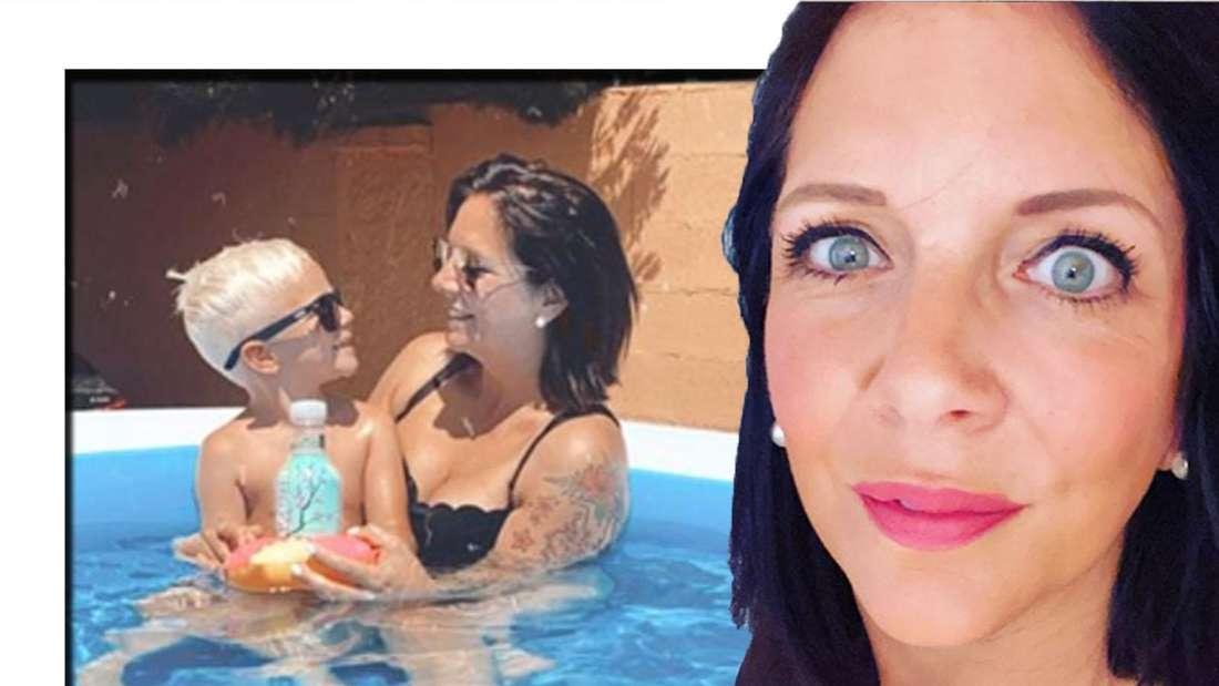 Danni Büchner schaut skeptisch in die Kamera - im Hintergrund sieht man sie mit ihrem Sohn Diego. (Fotomontage)