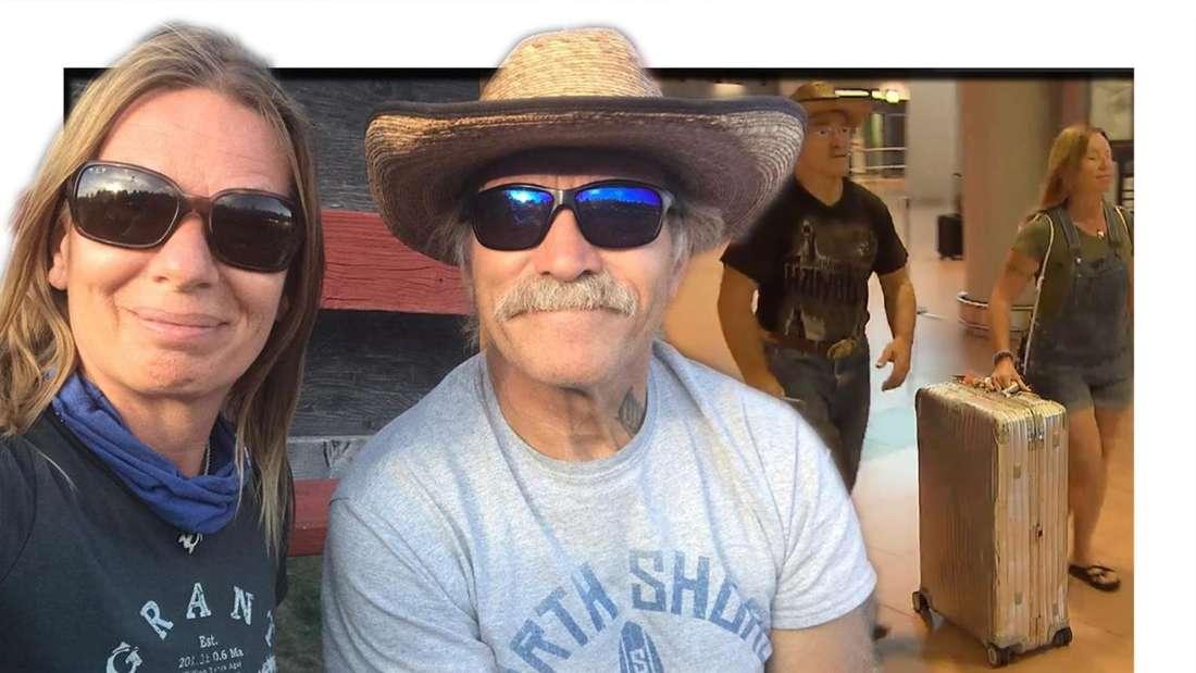 """Selfie von Konny und Manu Reimann, daneben die """"Goodbye Deutschland""""-Auswanderer mit Koffern. (Fotomontage)"""