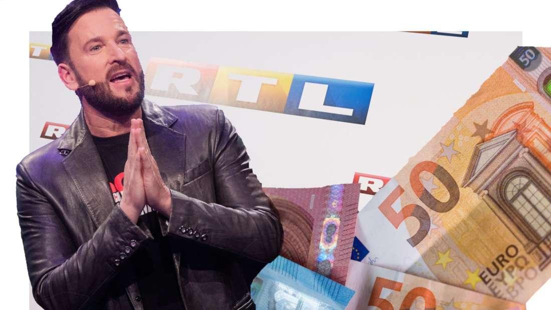 Michael Wendler schaut flehend, neben ihm Geld, im Hintergrund das RTL-Logo (Fotomontage)