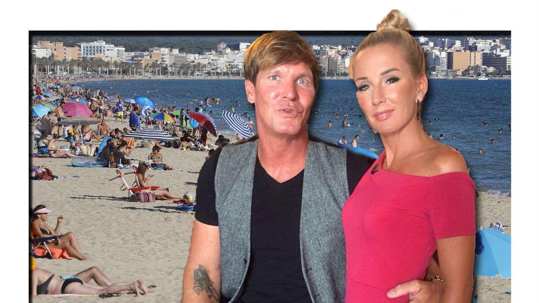 Fotomontage: Peggy und Steff, im Hintergrund Strand von Mallorca