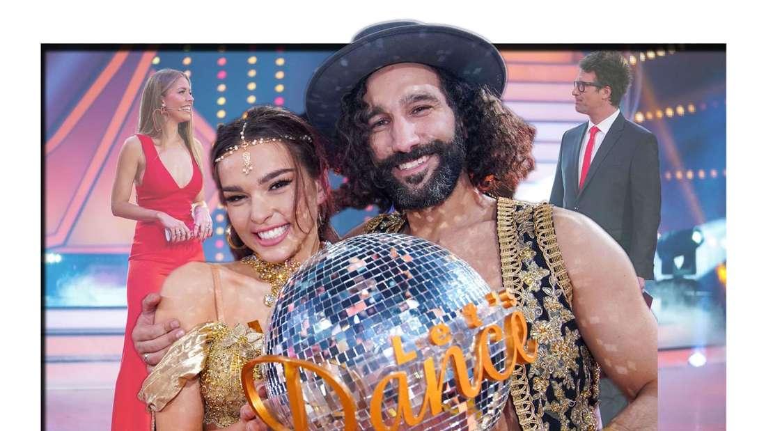 """Die Sieger Lili Paul-Roncalli und Massimo Sinato mit dem Pokal von """"Let's Dance"""". Im Hintergrund Daniel Hartwich und Victoria Swarovski."""