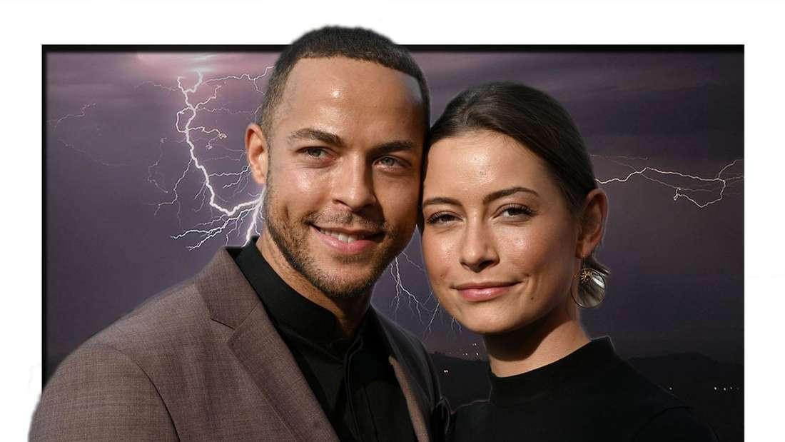 Sommerhaus der Stars (RTL): Andrej Mangold und Jenny Lange, im Hintergrund dunkle Wolken und Gewitter