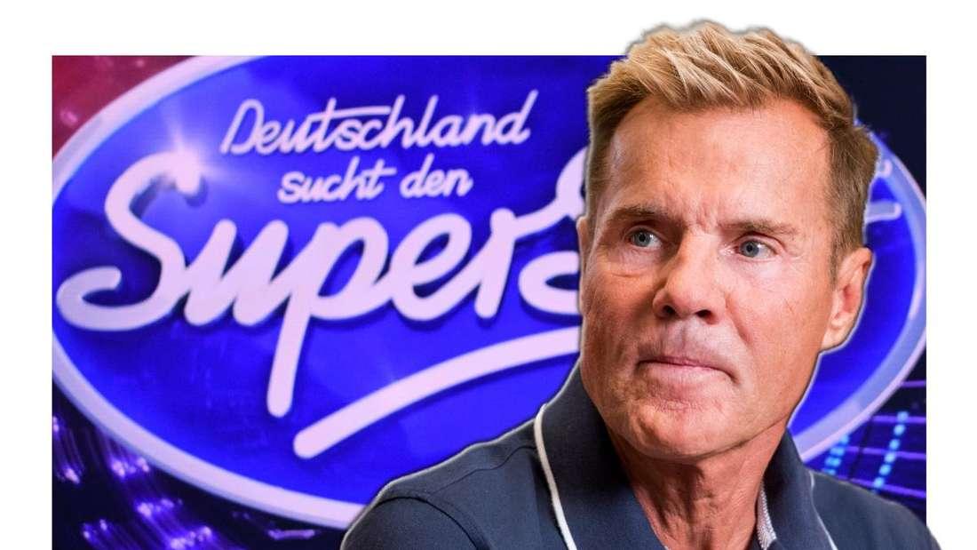 Dieter Bohlen blickt kritisch zur Seite - im Hintergrund sieht man das DSDS-Logo (Fotomontage)