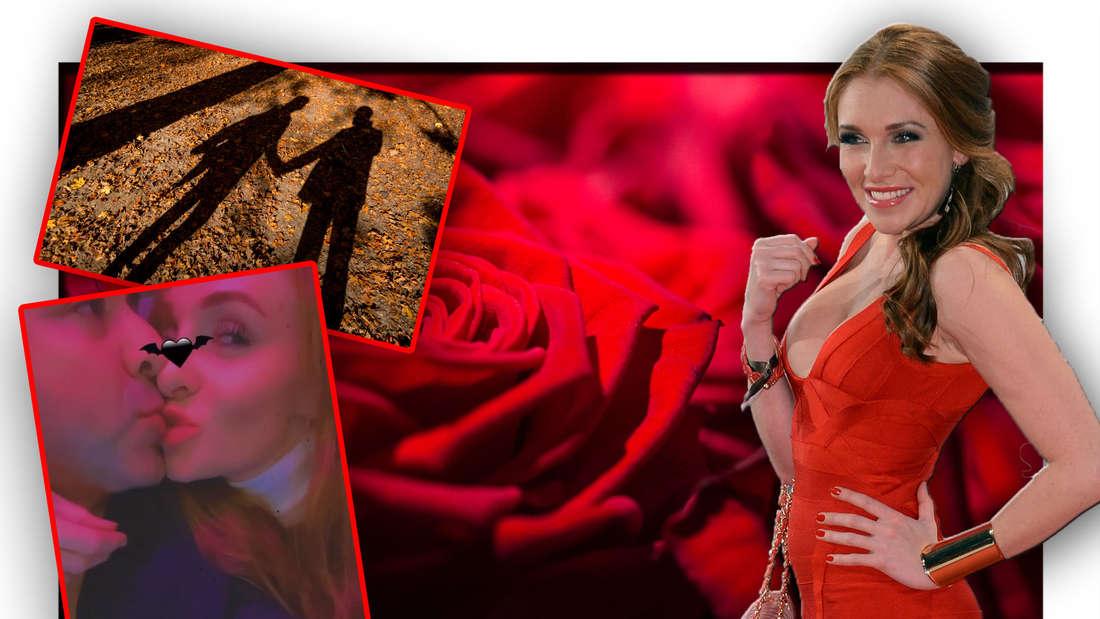 """""""Sommerhaus der Stars""""-Teilnehmerin Georgina Fleur vor Rosen, daneben ein Instagram-Bild mit ihrem Verlobten Kubilay """"Kubi"""" Özdemir (Fotomontage)"""