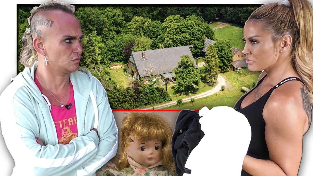 """YouTuberin Lisha steht im """"Sommerhaus der Stars"""" gegenüber von """"Goodbye Deutschland""""-Bodybuilderin Caro Robens, dazwischen eine Puppe (Fotomontage)"""