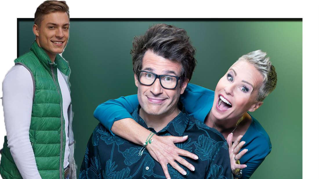 Henrik lächelt in die Kamera - im Hintergrund sieht man Sonja Zietlow und Daniel Hartwich (Fotomontage).
