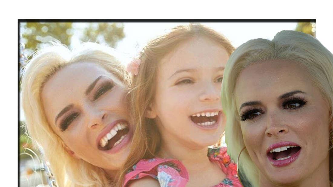 Daniela Katzenberger lacht in die Kamera - im Hintergrund ist sie mit ihrer Tochter Sophia zu sehen. (Fotomontage)