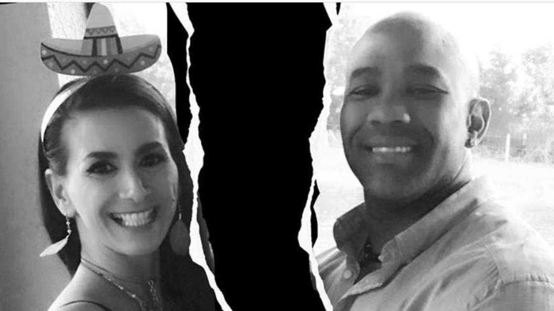 Demi und ihr Mann getrennt durch einen schwarzen Abgrund