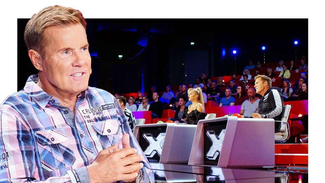 """Dieter Bohlen sitzt in der Jury von """"Das Supertalent"""", im Hintergrund sieht man seine Kollegen. (Fotomontage)"""