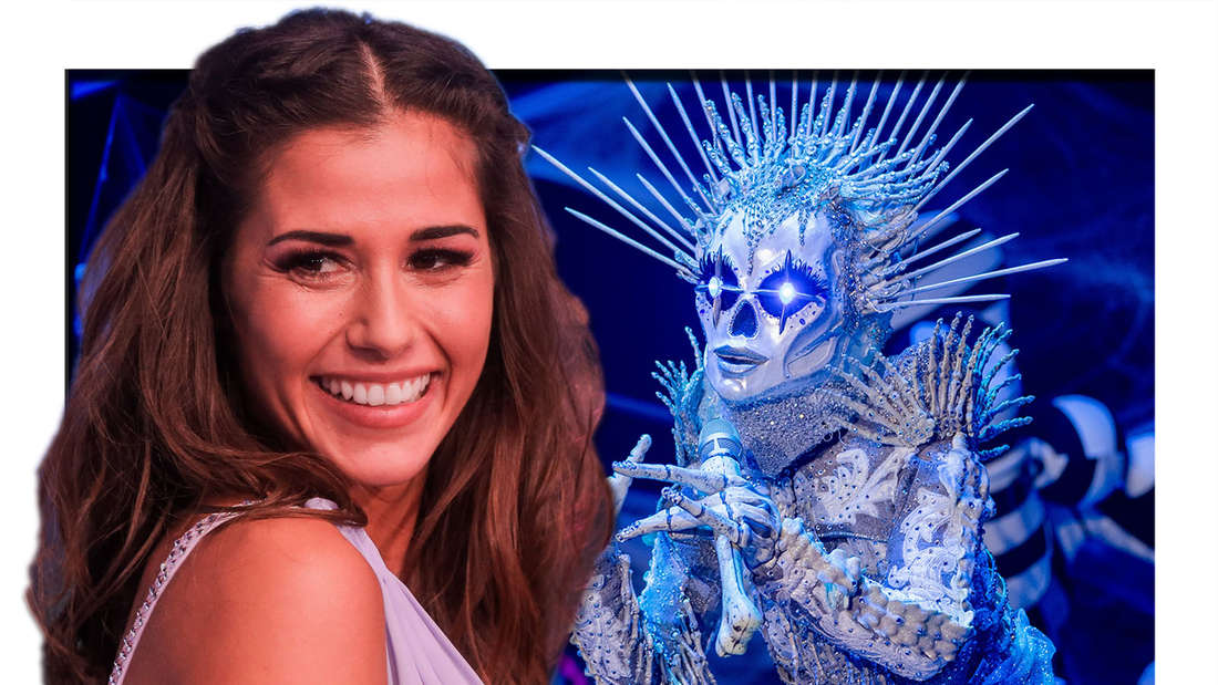 """Sarah Lombardi steht in der ersten Livesendung der SAT.1-Show """"Dancing on Ice"""" am 07.01.2019 auf dem Eis. Die Figur """"Das Skelett"""" steht in der Prosieben-Show """"The Masked Singer"""" am 27.10.2020 auf der Bühne. (Fotomontage)"""