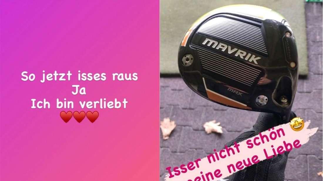Zwei Instagram-Storys von Pia Malo, in der sie von ihrer großen Liebe - einem neuen Golfschläger - spricht