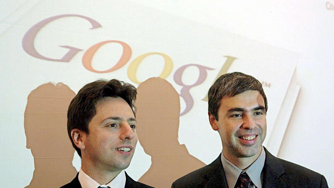 Larry Page (r) und Sergey Brin (l) entwickelten gemeinsam den Vorgänger zum heutigen Google