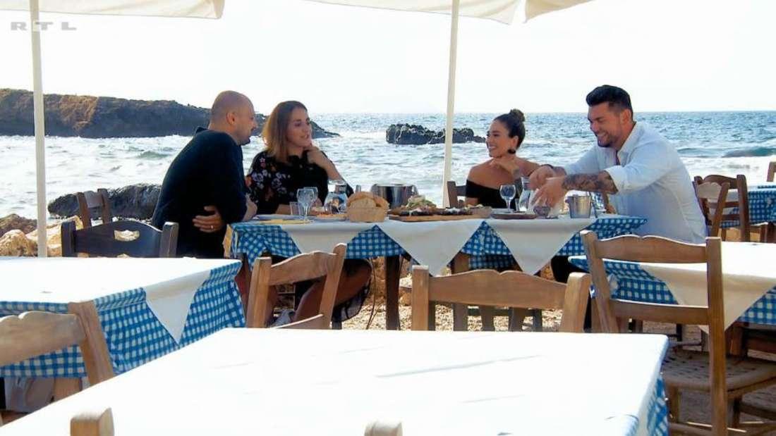 Bachelorette Melissa und Ioannis (rechts) treffen die Familie des Kandidaten.