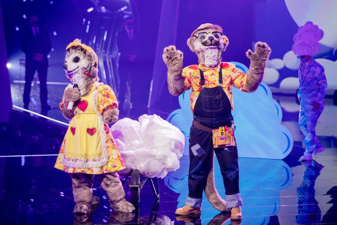 Die Figuren «Die Erdmännchen» stehen in der Prosieben-Show «The Masked Singer» auf der Bühne.