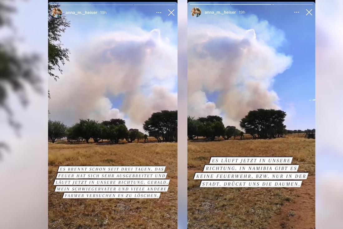 Screenshots von Anna Heiser, sie berichtet von einem Feuer in Namibia.