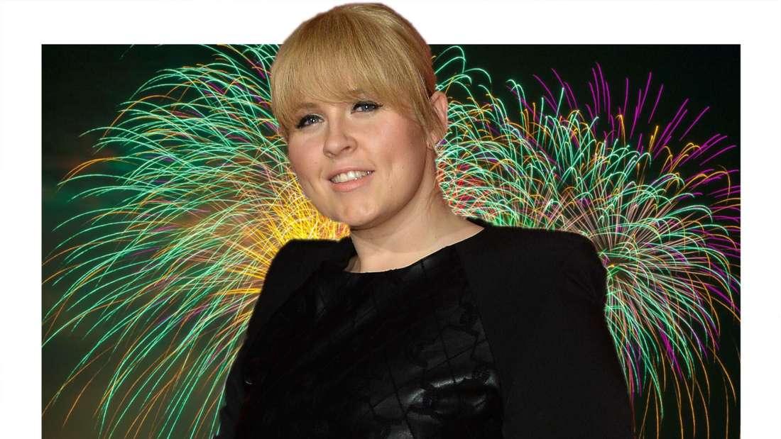 Maite Kelly vor einem Feuerwerk (Fotomontage)