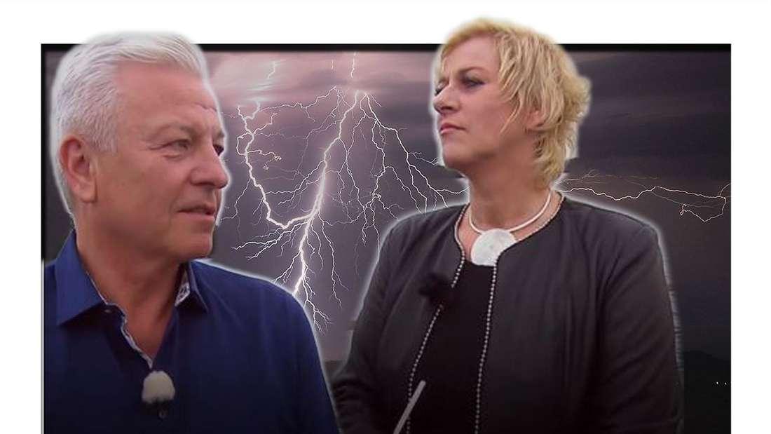 Hochzeit auf den ersten Blick: Norbert und Wiebke in einer Diskussion, im Hintergrund ein Gewitter mit heftigen Blitzen