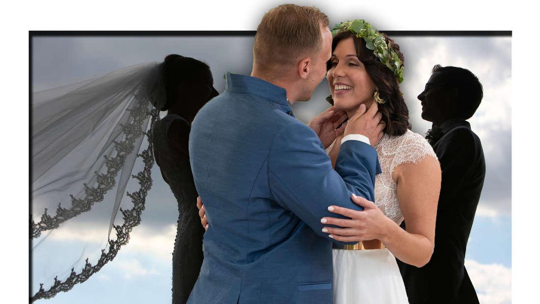 Lisa und Michael schauen sich verliebt an (Fotomontage)