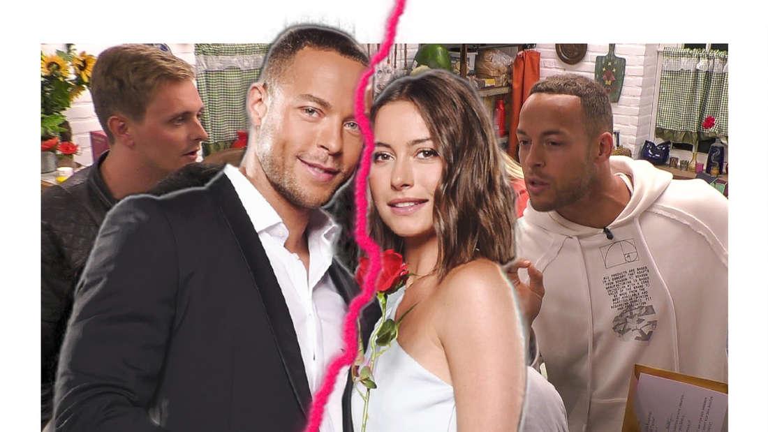 """Andrej Mangold und Jennifer Lange posieren, im Hintegrund eine Szene aus dem """"Sommerhaus"""", in der Mitte ein Blitz (Fotomontage)"""