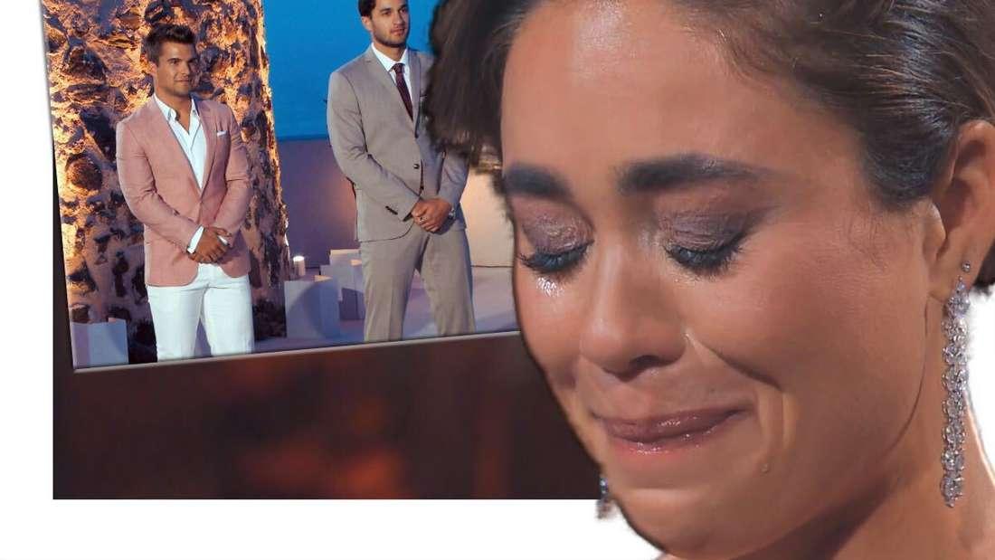 Melissa weint, im Hintergrund stehen Daniel und Leander (Fotomontage)