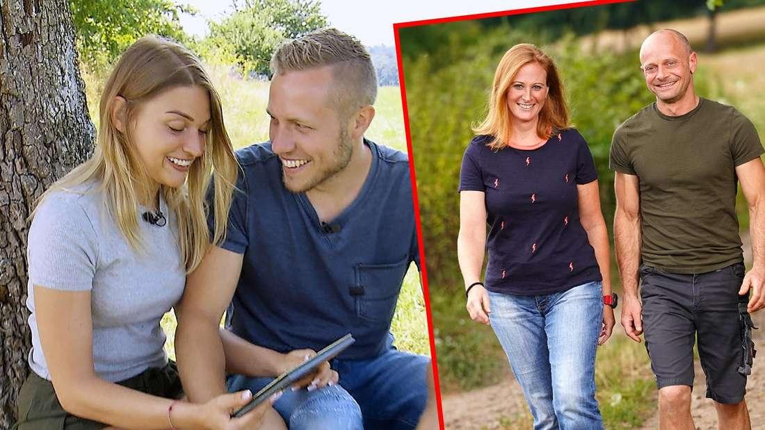 """Patrick und Julia (links) und Nicole und Thomas U. (rechts) bei """"Bauer sucht Frau""""."""