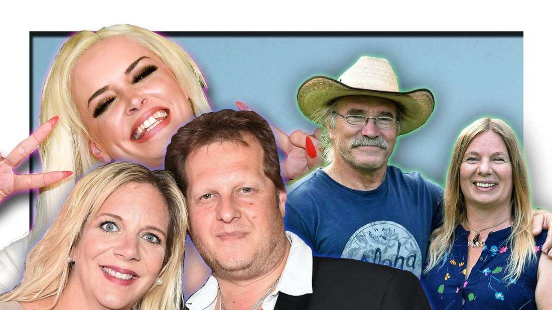 Jens und Dani Büchner, Daniela Katzenberger und die Reimanns posieren vor blauem Hintergrund (Fotomontage)