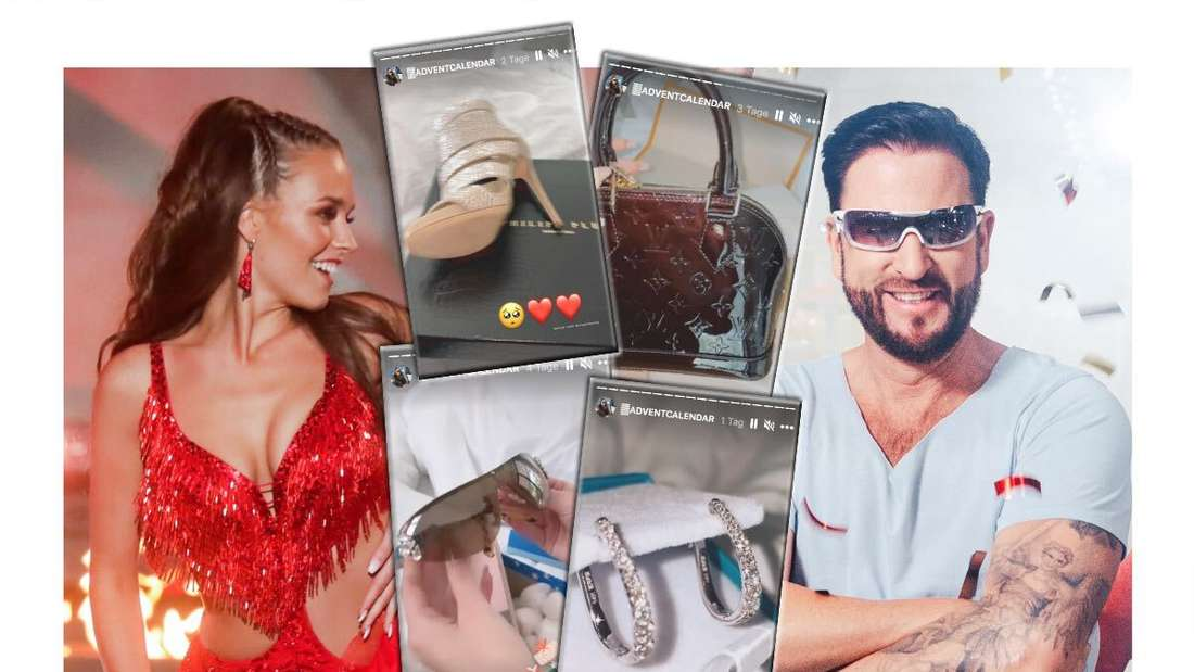 Michael Wendler rechts, Laura Müller links - in der Mitte Instagram-Screenshots (Fotomontage)