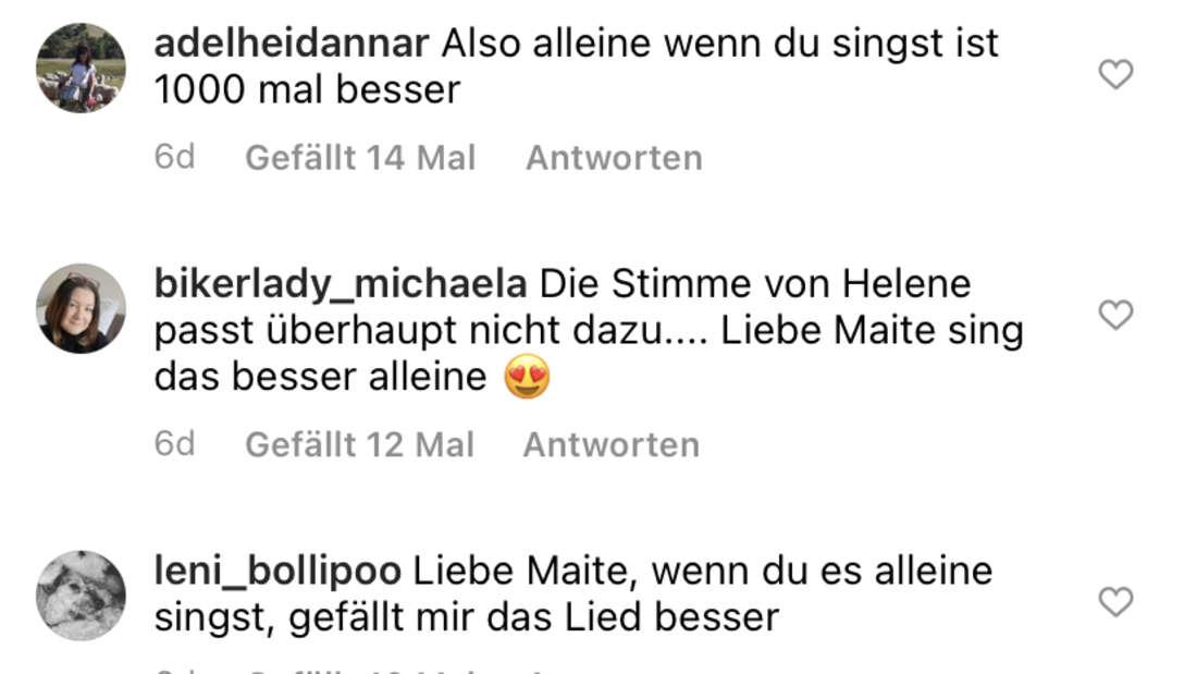 Screenshot von Maite Kellys Instagram-Post über das Duett mit Helene Fischer. Fans sind nicht sehr euphorisch.