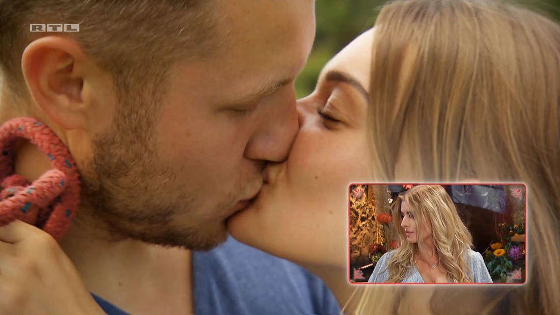 Bauer sucht Frau: Patrick und Julia küssen sich, Antonia dreht sich weg