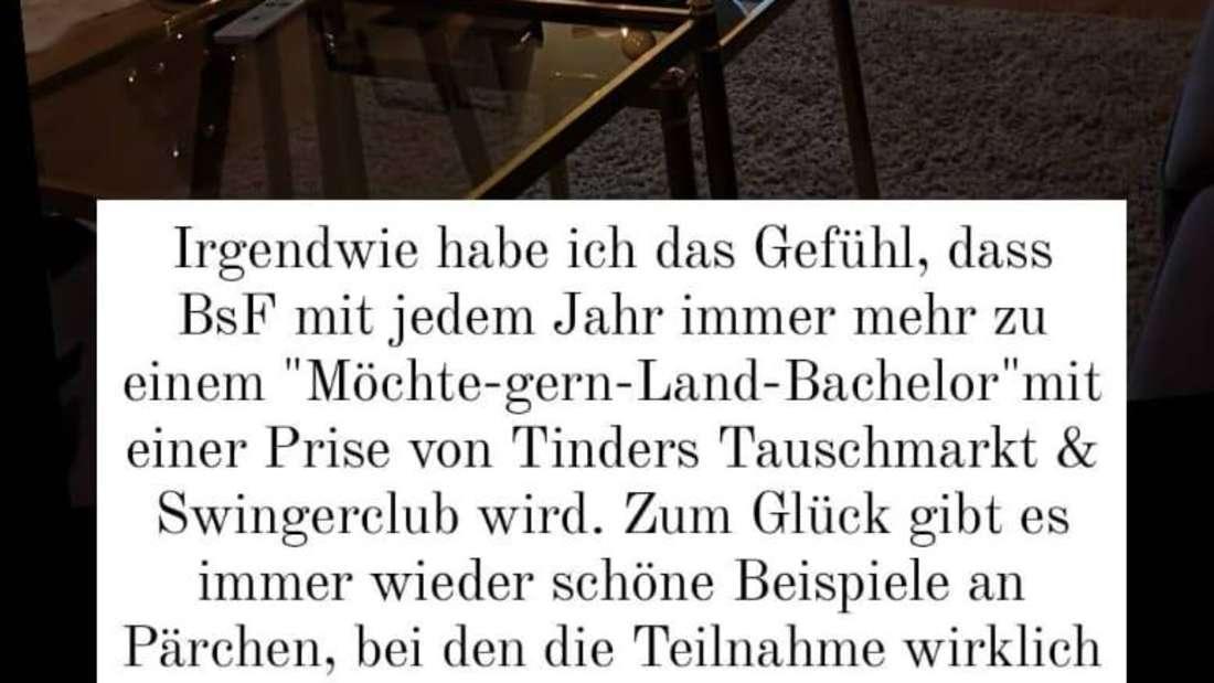 """Anna Heiser postet einen Text über """"Bauer sucht Frau"""""""