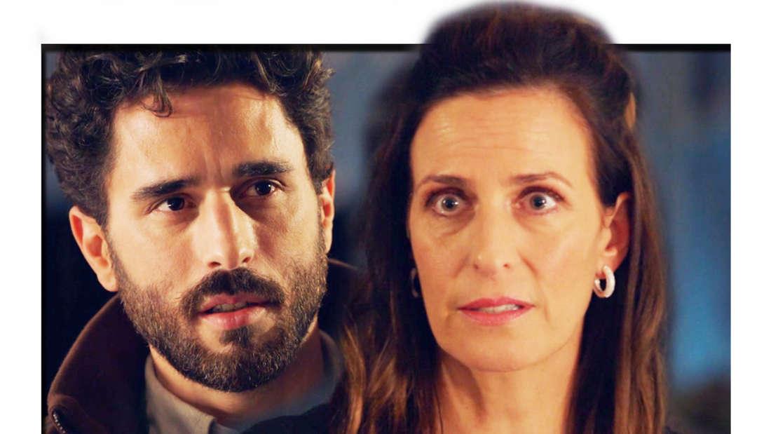 GZSZ: Kathrin schaut überrascht, im Hintergrund Tobias