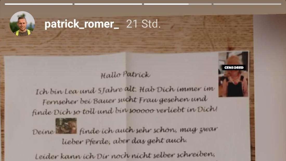 """""""Bauer sucht Frau""""-Kandidat Patrick teilt auf Instagram einen süßen Fan-Brief einer Fünfjährigen"""