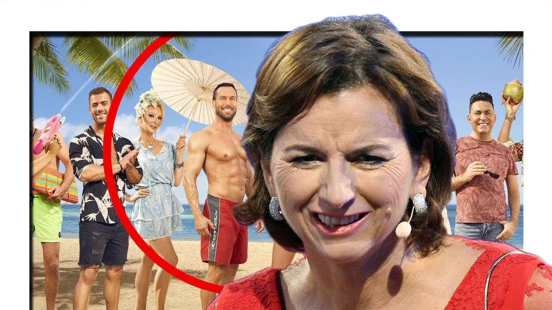 """Claudia Obert lächelt, hinter ihr stehen die """"Promis unter Palmen""""-Kandidaten (Fotomontage)"""