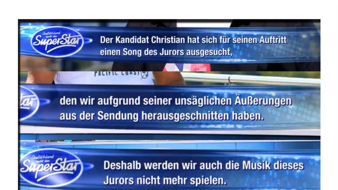 RTL-Text bei DSDS am Samstagabend.