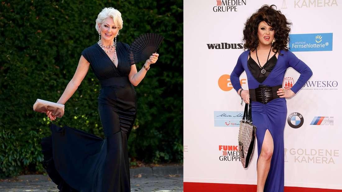 Fotomontage: links Désirée Nick, links Nina Queer, beide auf einem Red Carpet Event