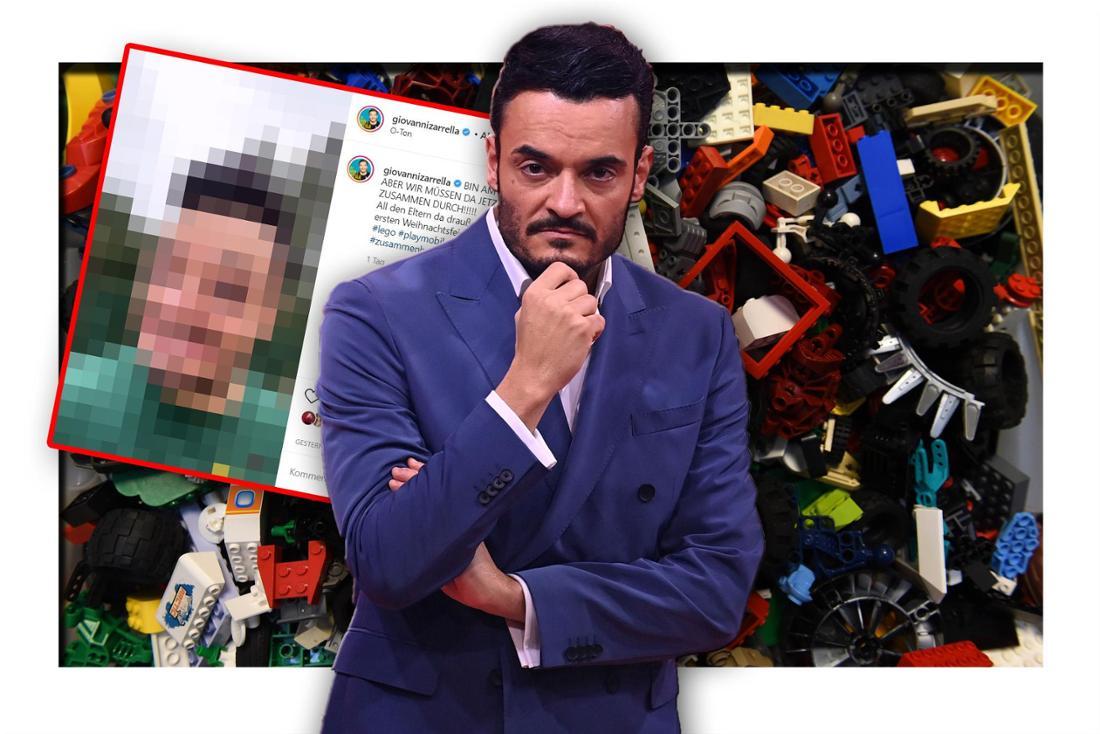 Schlagersänger Giovanni Zarrella vor einem bunten Haufen LEGO-Steine, daneben ein Instagram-Post (Fotomontage)