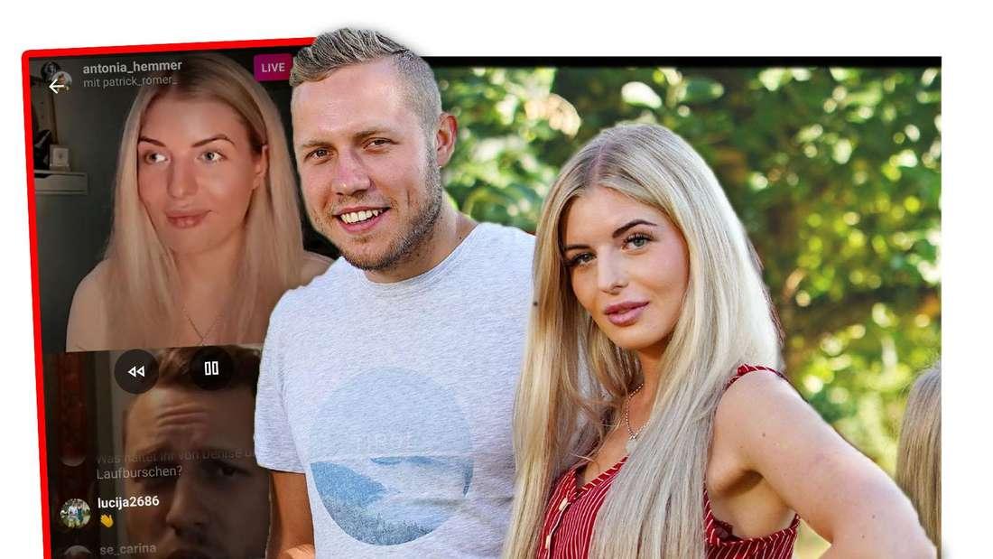"""Fotomontage: """"Bauer sucht Frau""""-Kandidaten Patrick und Antonia, daneben ein Screenshot der Instastory"""