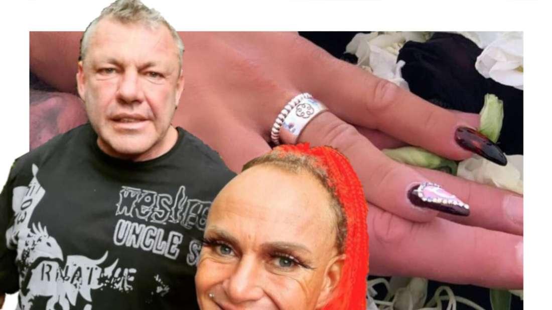 Caro und Andreas Robens vor einem Foto ihrer Eheringe (Fotomontage)