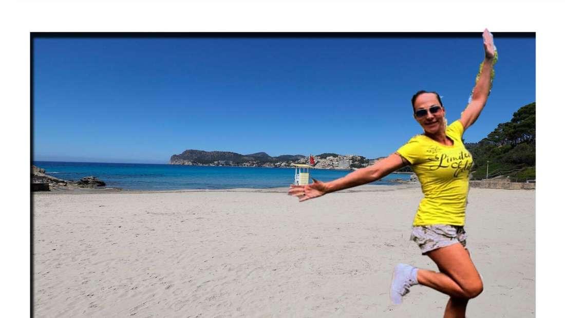 Marion Pfaff am Strand auf Mallorca