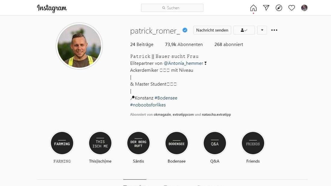 Auf seinem Instagram-Profil hat Jungbauer Patrick stehen: Elitepartner von Antonia Hemmer.