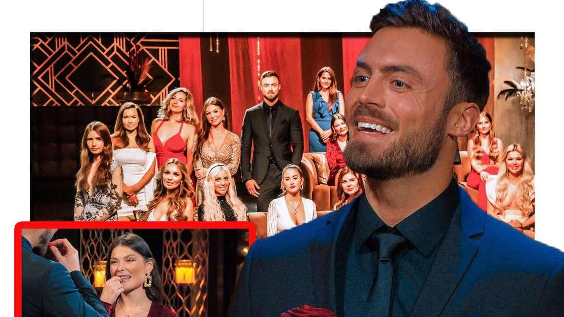 Niko Griesert lächelt verlegen in die Kamera - im Hintergrund sieht man die Kandidatinnen (Fotomontage)
