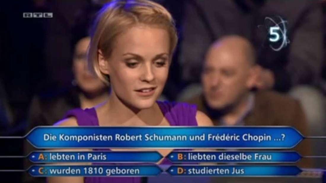 Mirjam Weichselbraun wusste bei der 50.000-Euro-Frage nicht weiter und nahm als Telefonjoker Günther Jauch.