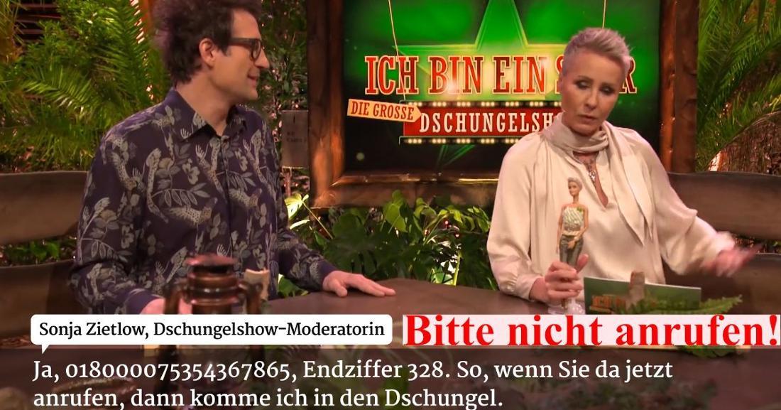 Zuschauer sollen für IBES-Moderatorin Sonja Zietlow anrufen