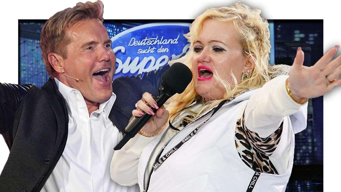Dieter Bohlen jubelt, Claudia Haas singt, DSDS-Bühne (Fotomontage)