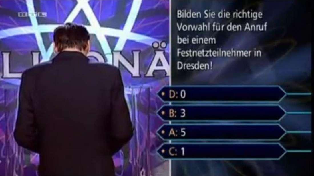 Bei der vierten Auswahlfrage konnte Günther Jauch schon gar nicht mehr hinsehen.